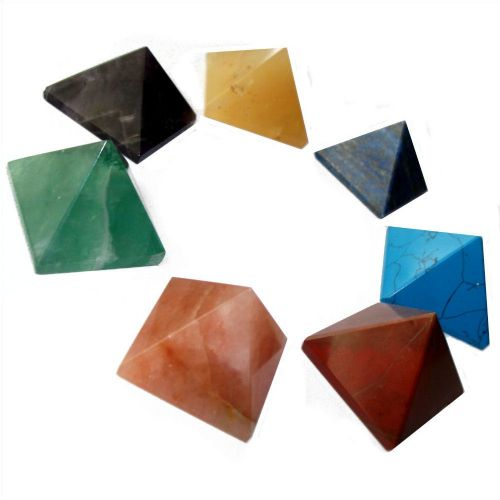 Set of 7 Chakra Healing Pyramids (25mm) with Pouch